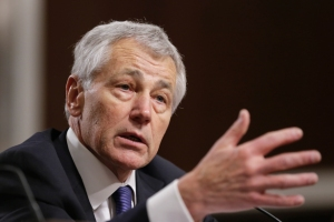 Republican Chuck Hagel, a former two-term senator from Nebraska and President Obama's choice to lead the Pentagon, testifies before the Senate Armed Services Committee during his confirmation hearing on Capitol Hill in Washington, Thursday, Jan. 31, 2013