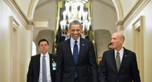 President Obama meets with Congress. AP Photograph