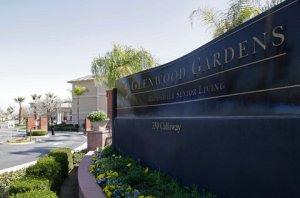 The main gate of Glenwood Gardens, a retirement community in Bakersfield, Calif., where an elderly woman died after a nurse refused to perform CPR