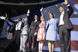 Republican nominee for governor Ken Cuccinelli, right, is joined onstage with the other members of the ticket, including E. W. Jacksonon, second from left.
