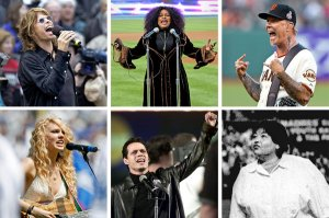 Clockwise from top left: STEVEN TYLER at Fenway Park in 2002; CHAKA KHAN in 2008 at Dodger Stadium; JAMES HETFIELD in San Francisco in May; ROSEANNE BARR at a San Diego Padres game in 1990; MARC ANTHONY at Shea Stadium in 2001; and TAYLOR SWIFT at Dodger Stadium in 2007.