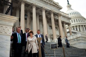 From left, Representatives Tim Murphy, Mark Sanford, Cathy McMorris Rodgers and Sean P. Duffy, all Republicans, after the House approved an agriculture bill.