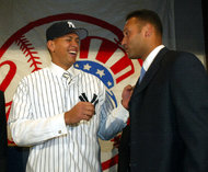 Alex Rodriguez with Derek Jeter in 2004