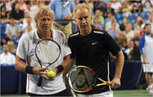 Bjorn Borg, at left, and John McEnroe at a charity match on Randall's Island in New York.  July 2011