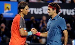 Rafael Nadal, left, shaking Roger Federer's hand after their match. The Nadal-Federer rivalry ranks among the most compelling and the most lopsided in tennis history.