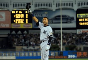 Derek Jeter in 2008 after breaking Lou Gehrig's mark with his 1,270th hit at Yankee Stadium