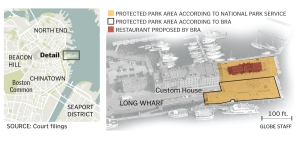 Map of Long Wharf with the proposed restaurant marked.