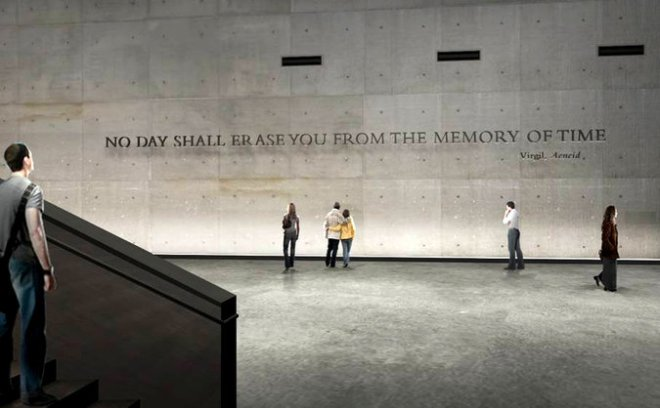 An early rendering of the inscription at the National September 11 Memorial Museum.