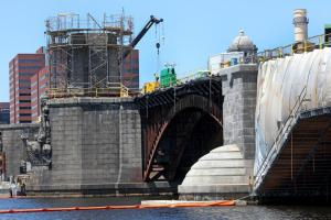 Longfellow Bridge under construction May 2014