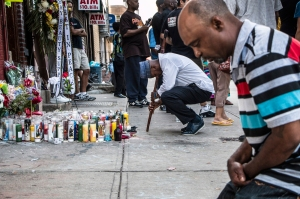 A memorial for Eric Garner at the site where he died, on Staten Island.