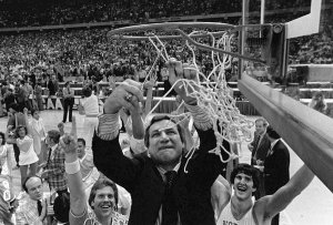 Dean Smith, the North Carolina basketball coach, after the Tar Heels defeated Georgetown for the N.C.A.A. championship in 1982