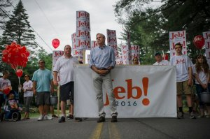 Former Gov. Jeb Bush of Florida at an Independence Day parade in Amherst, N.H., on Saturday. He was among the nine presidential candidates campaigning in the state over the holiday weekend. Credit
